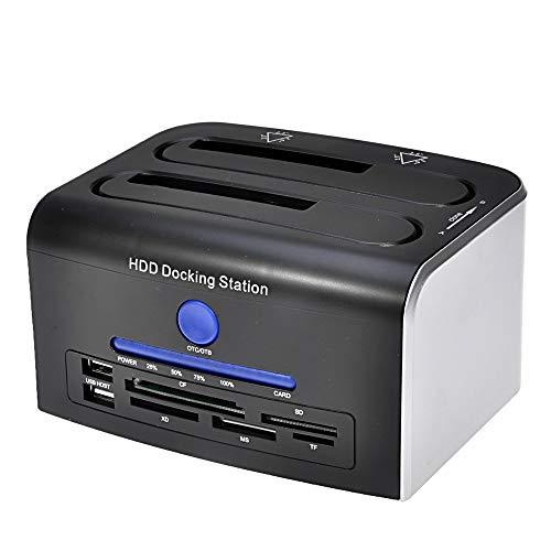 Caja de disco duro externo USB 3.0 a SATA de doble bahía para HDD/SSD de 2.5/3.5 pulgadas con clon sin conexión/respaldo de hasta 8...