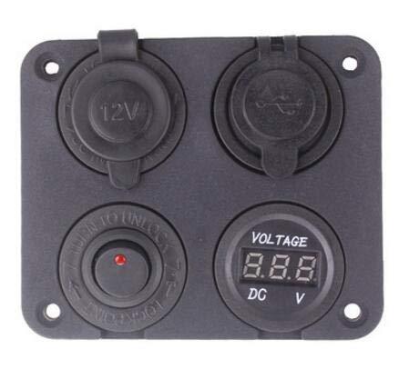 NCONCO DC 12V-24V Auto Boot Zigarettenanzünder Steckdose Dual USB Ladegerät Voltmeter Rot