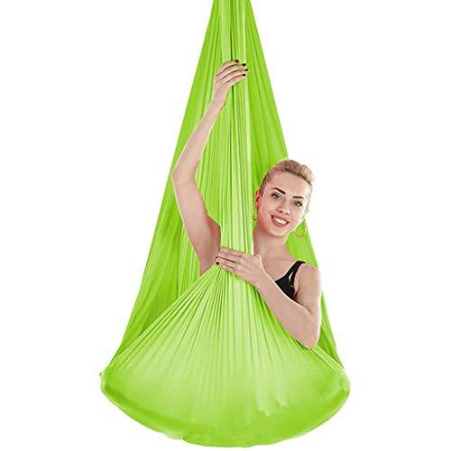 Hamaca de Yoga de Yoga aérea Hamaca de Yoga para el Ejercicio de la Eslinga de inversión con 2 Correas Colgantes de extensión en casa al Aire Libre (Color : Green, Size : 400x280cm)