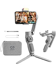 $84 » Zhiyun Smooth Q3 Combo, Handheld 3-Axis Smartphone Gimbal Stabilizer with Grip Tripod LED Fill Light Protective Case Foldable Phone Stabilizer Compatible with iPhone & Android