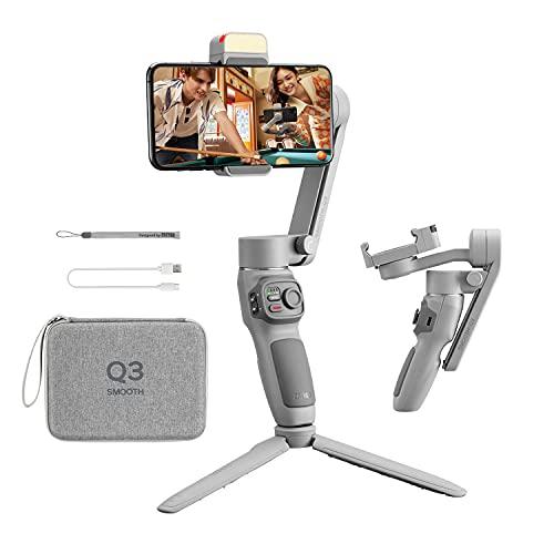 Zhiyun Smooth Q3 Combo, estabilizador de cardán de 3 ejes para smartphone con trípode de agarre con luz de relleno LED, compatible con iPhone y Android