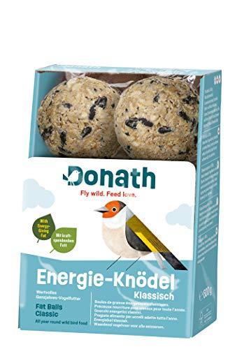 Donath Energie-Knödel klassisch, ohne Netz - 6 Meisenknödel ohne Netz (6 x 100g) - mit kraftspendendem Fett - wertvolles Ganzjahres Wildvogelfutter - aus unserer Manufaktur in Süddeutschland