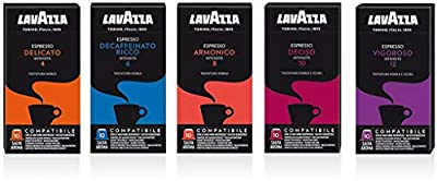 Nespresso Compatible Lavazza Espresso Coffee Capsules Bundles (5 Packs of 10 Total 50)