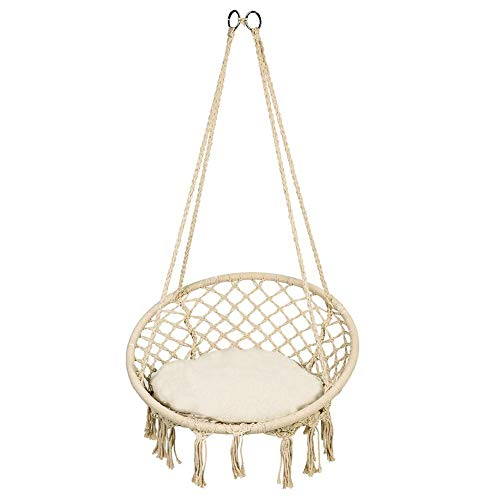 lyrlody Suspended Armchair, Swing Chair, Hanging Chair for Interior, Hanging Chair, Suspended Armchair with Franges, Knitted Hanging, 120 kg capacity, for Indoor/Outdoor/Patio/Terraces