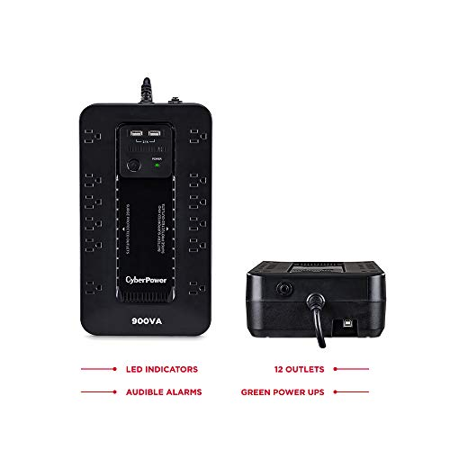 CyberPower ST900U Standby UPS System, 900VA/500W, 12 Outlets, 2 USB Charging Ports, Compact