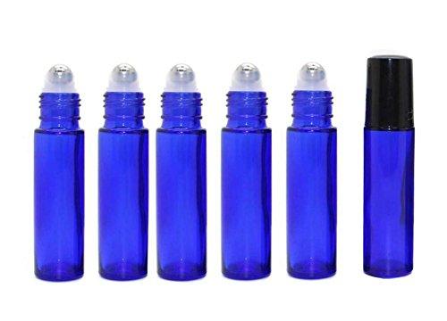6 unidades 10 ml 0,34 oz azul cobalto botella con bola de acero y tapa negra para aceites esenciales, perfumes, brillo labial, bálsamo cosmético, botella de rodillo de Phiole Container