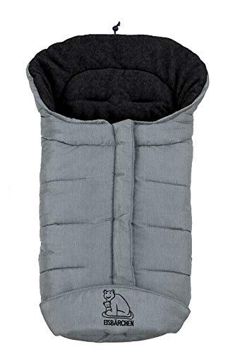 Eisbärchen Winter-Fußsack für Kinderwagen 7965 SG hellgrau-schwarz