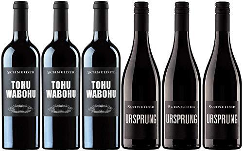 Markus Schneider 3x Ursprung und 3x Tohuwabohu | Weinpaket mit Rotweinen aus Deutschland (6 x 0.75l) | Trocken | Pfalz