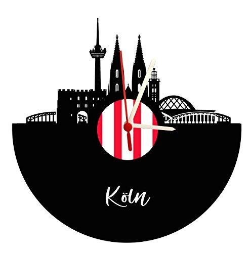 Wanduhr Köln Skyline,rot-weiß, Schallplattenuhr mit Quarzwerk