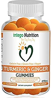 NEW Turmeric & Ginger Gummies | Intego Nutrition |100% Vegan Gluten Free Natural Dietary Supplement [60 Count] | Non GMO A...