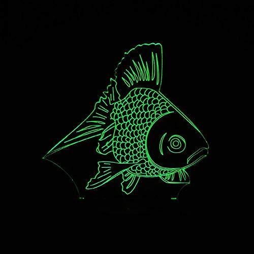 wangZJ Lámpara de ilusión 3d / Regalo de navidad/Luz nocturna/junto a Lámpara de mesa / 7 colores/Decoración de escritorio/Regalo para niños/Pez dorado