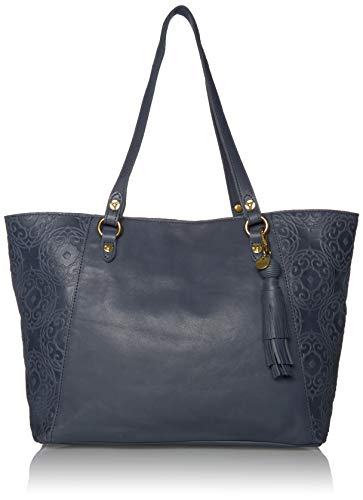 The Sienna Shopper is made in smooth vintage leather and features beautiful embossed details. Dog leash closure Interior contains back wall zipper pocket and two multi function slip pockets Top handles with souk embossed panels and hammered stud deta...