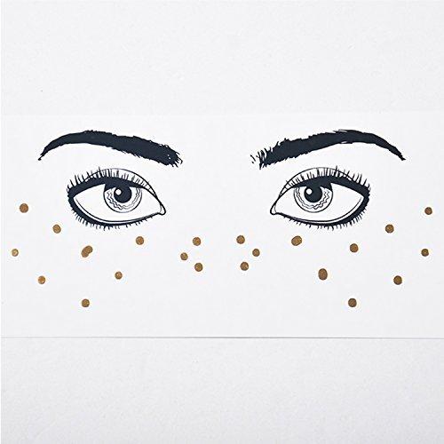 Face Tattoo Face Sticker Tatouage temporaire Brillant métallique pour l'effet Glitter, Les Parties, Les Spectacles et Le Maquillage (F16)