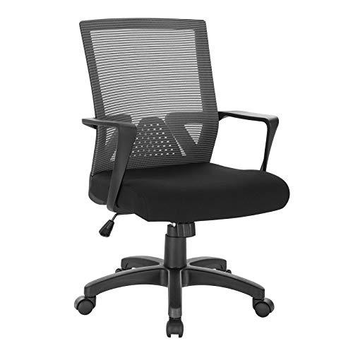 WOLTU® Bürostuhl Schreibtischstuhl Drehstuhl Computerstuhl Mesh PC Stuhl, ergonomisch, mit Armlehne, mit Wippfunktion, Netzbezug, Gestell aus Nylon, höhenverstellbar, Grau, BS88gr