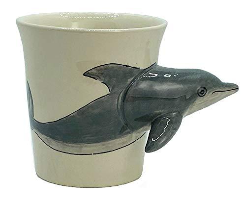 Windhorse Taza de café con diseño de delfín en 3D de cerámica pintada a mano