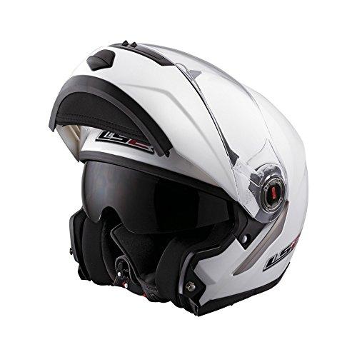 Helm LS2 Easy, FF370, Gr. M, 57-58cm, weiß, mit Visier, (klar), Kunststoff, Klapphelm, 1400g, ECE 22.05,