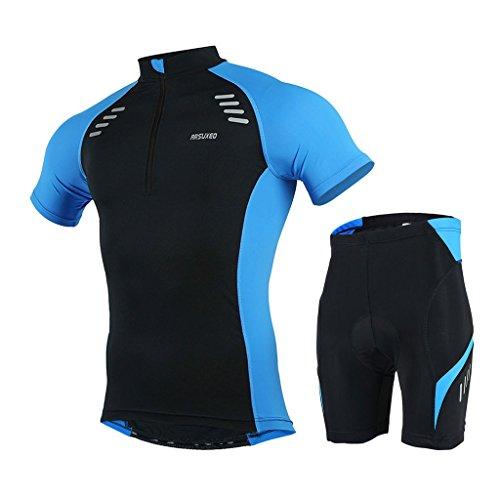 GWELL Herren Radtrikot Set Fahrradbekleidung Schnell Trocken Fahrrad Trikot Kurzarm + Radhose mit 3D Sitzpolster blau 2XL