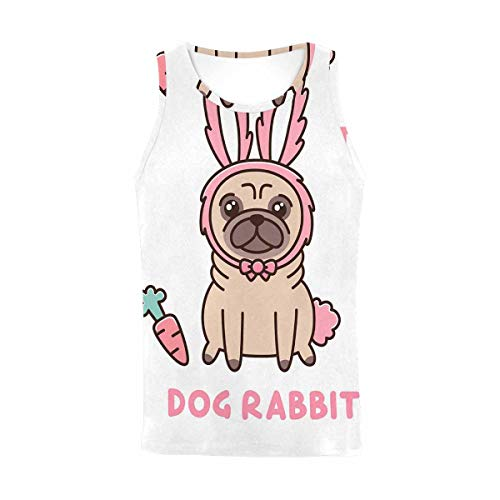 InterestPrint Women's Tank Top Sports Muscle Bodybuilding Gym Undershirt Dog in a Rabbit Costume M