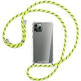 mtb more energy® Collar Smartphone para Apple iPhone 11 Pro (5.8'') - Amarillo neón Rayado - Funda Protectora ponible - Carcasa Anti Shock con Cuerda
