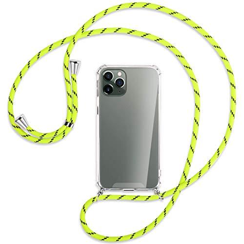 mtb more energy Collar Smartphone para Apple iPhone 11 Pro (5.8'') - Amarillo neón Rayado - Funda Protectora ponible - Carcasa Anti Shock con Cuerda