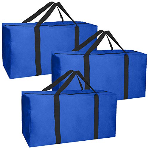 Jalousie 3 Pack Extra Large Heavy Duty Storage Bags Moving Bag Totes Storage Bin Space Saver Travel Duffel Bags - Made of Tough 600D Oxford (Navy-Black 3 Pack)