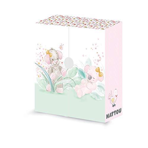 Nattou Boîte de Rangement pour Bébé, Pour Objets et Souvenirs, Iris et Lali, 25 x 26,5 x 9 cm, EN-DE-NL-FR, Rose