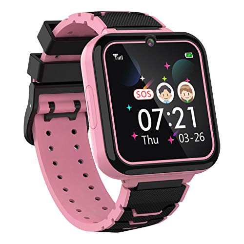 Boys Girls Kids Music Game Smart Watch , HD Touch Screen Wrist Smartwatch , Alarm Calculator MP3 Music Player Games Call SOS Camera Flashlight Smart Watch , Children Toy Birthday Gift(Pink)