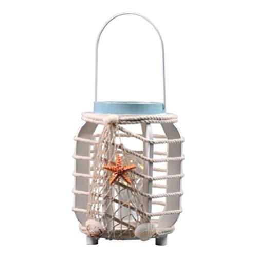 Uonlytech LED-Laternenlampe Flammenloses Kerzenlicht mit Jutegarn Und Muschel Nautisches Nachtlicht für Strand Mediterrane Küstendekoration Ornament (Ohne Batterien)