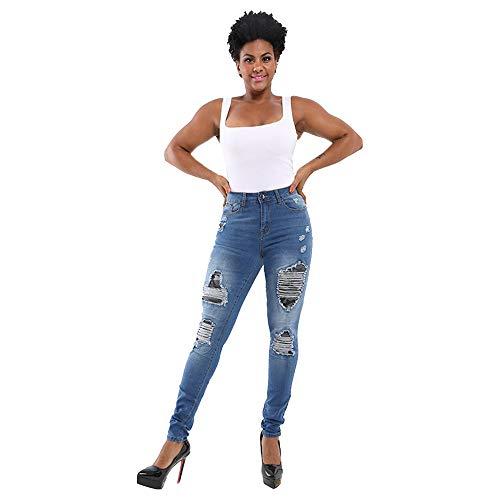 Mibuy Pantalones Vaqueros De Mujer Jeans Agujero Cintura Alta Vaqueros Pitillo Elásticos Pantalones Delgados Vaqueros Rotos Mujer Talla Grande 2020 Leggings Jeans Lápiz Push Up Azul,M