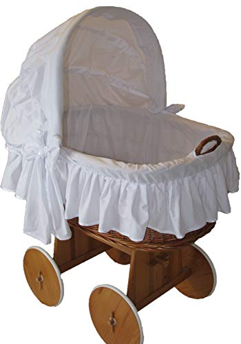 Babymajawelt® Stubenwagen Bezug TRAUMHAFT - XXL -Bollerwagen Ersatzbezug weiss (weiss)