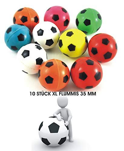jameitop®Flummis im Fußball Design 10er Set Fußballflummis / Hüpfbälle 35mm Ball