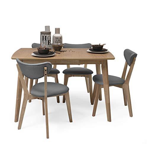 Homely - Conjunto de Comedor de diseno nordico MELAKA Mesa Extensible de 120/160x80 cm Roble y 4 sillas tapizadas - Gris