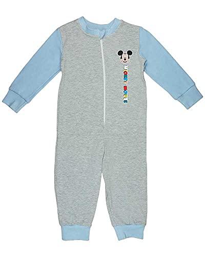 Jungen Schlafoverall Pyjama Einteiler Onesie Schlaf-Anzug Kinder-Strampler-Anzug mit Mickey Mouse von Disney in Größe 92 98 104 110 100% Baumwolle Jumpsuit (Modell 2, 104)