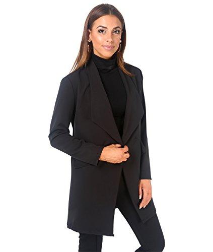 KRISP Blazer Mujer Largo Boyfriend Chaqueta Larga Elegante Talla Grande Boda, (Negro, XS), 5403-BLK-XS