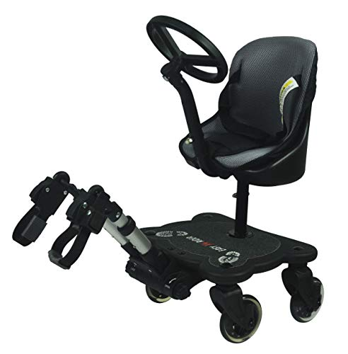 Easy X4 Rider Sit N Ride 4 Wheeled Universal Buggy Ride On Board with Seat & Steering Wheel to fit All Pushchairs, Prams and Strollers