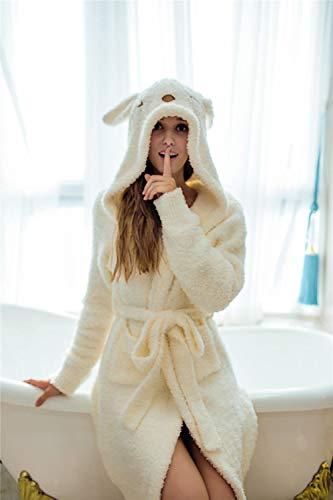 LRJZFX Weich und gemütlich Bademantel Pyjamas niedlichen Hasenohren Bademantel Herbst und Winter Pyjamas Frauen zu Hause Service-Milky_One Größe