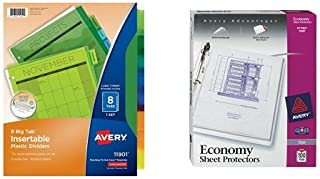 Avery Big Tab Insertable Plastic Dividers, Multicolor, 1 Set of 8 Tabs (11901) and Avery Economy Clear Sheet Protectors, Acid Free, Box of 100 (75091) Bundle
