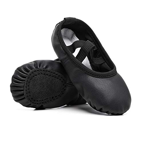 STELLE Girls Ballet Practice Shoes, Yoga Shoes for Dancing(Black, 1M Little Kid)