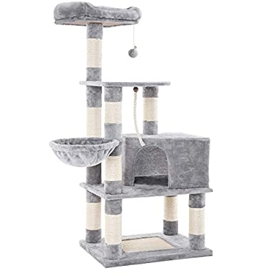 SONGMICS Cat Tree with Scratching Posts, Cat Tower with Condo and Basket, Kitten Furniture Activity Centre - Plush and Light Grey PCT60W