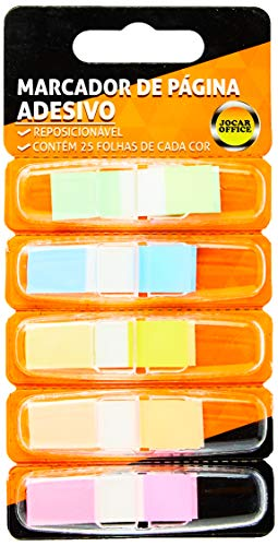 Index Film 5 Cores 25 Folhas Jocar Office, Leonora, Colorido, 44 mm x 12 mm