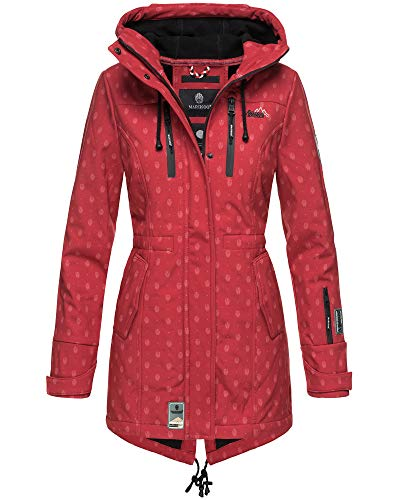 Marikoo Damen Softshell Jacke Winter Jacke Regenjacke Parka Kapuze ZMTZ (L, Rot mit Print)