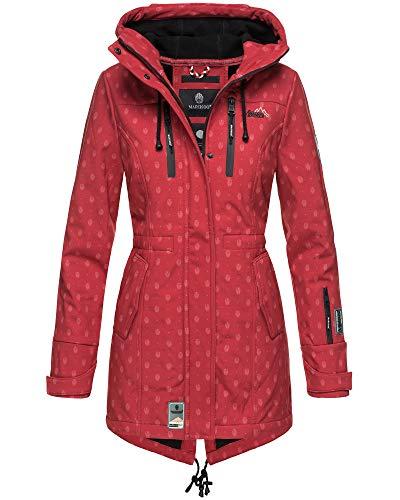 Marikoo Damen Jacke Softshelljacke Übergangsjacke Outdoor Winddichte Wasserabweisend Funktionsjacke mit Kapuze XS - XXL Zimtzicke (Rot mit Print, L)