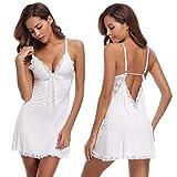Aibrou Damen Spitze Baumwolle Babydoll Tiefer V-Ausschnitt Neckholder Nachtkleid Lingerie Set mit G-String Weiß M