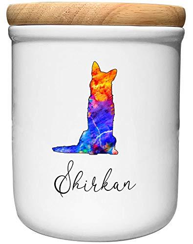 Cadouri Keramik Leckerli-Dose SCHÄFERHUND » personalisiert mit Name deines Hundes «┊Snackdose Keksdose Aufbewahrungsdose┊mit Holzdeckel
