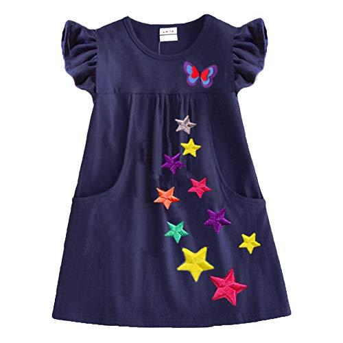 VIKITA Vestido para Niñas Manga Corta Algodón Princesa Casuales Bebe Niñas Sh5808 8T