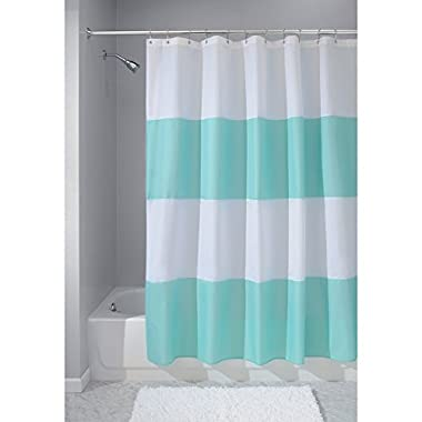 InterDesign Mildew-Free Water-Repellent Zeno Fabric Shower Curtain, 72-Inch by 72-Inch, Blue/White