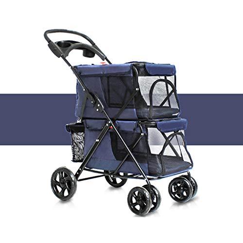 LYN hond rolstoel, huisdier wandelwagen, huisdier drager, hond kat gemakkelijk vouwen dubbele huisdier trolley honden grote ruimte karren vier ronden van outdoor reizen benodigdheden (79 * 52 * 105CM), C