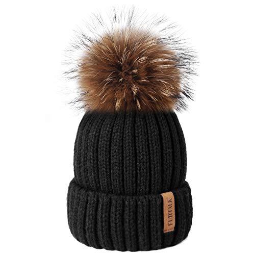 Womens Knit Beanie Winter Hats Detachable Real Raccoon Fur Pom Pom Hat Girls Ski Skull Cap (Black)