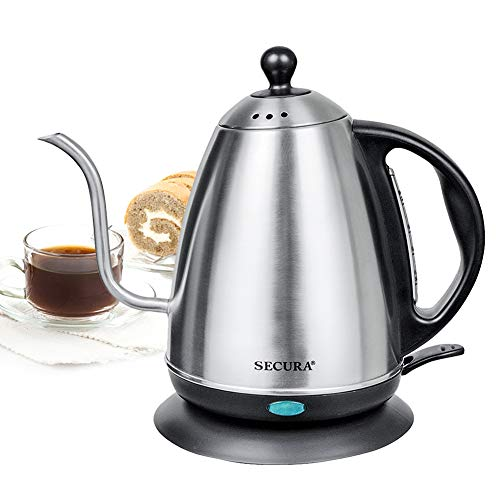 Secura 1.2 Liter Stainless Steel Gooseneck Electric Water Kettle for Pour Over Coffee and Tea with 1000 Watts of Power