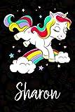 Sharon: Quaderno unicorno bambina Con Nome Sharon ,Taccuino Pagina a Righe, Dimensione 15.24 x 22.86 cm,110 pagina , Perfetto regalo personalizzato per il compleanno di Natale San Valentino